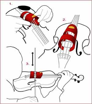 diagram of how to fit and play the violin with the bowzo